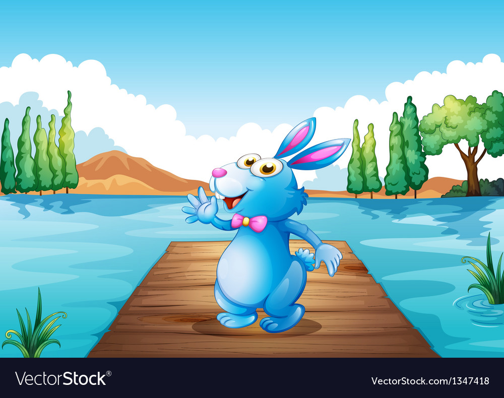 A bunny above the wooden bridge at the river vector | Price: 1 Credit (USD $1)