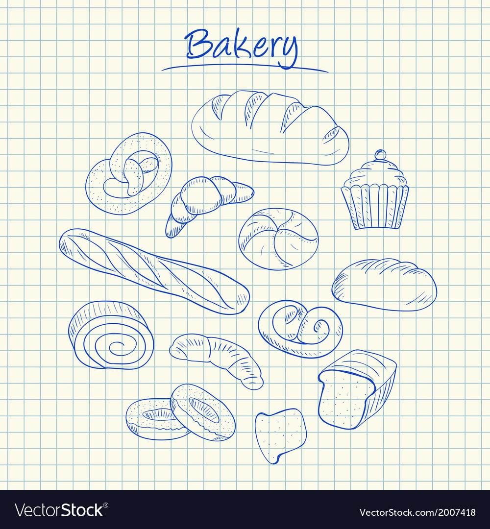 Bakery doodles squared paper vector | Price: 1 Credit (USD $1)
