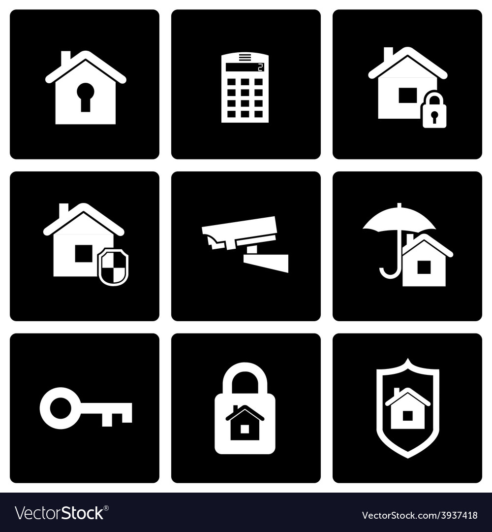Black home security icon set vector | Price: 1 Credit (USD $1)