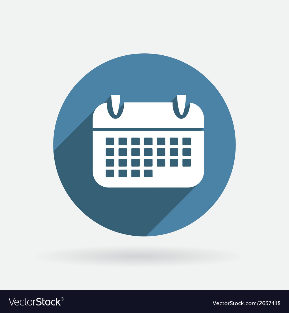 Calendar circle blue icon with shadow vector | Price: 1 Credit (USD $1)