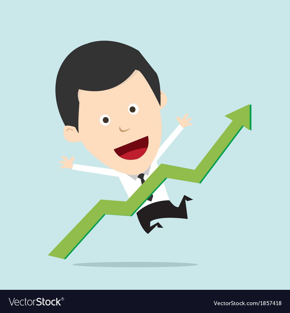 Cartoon businessman positive graph vector   Price: 1 Credit (USD $1)