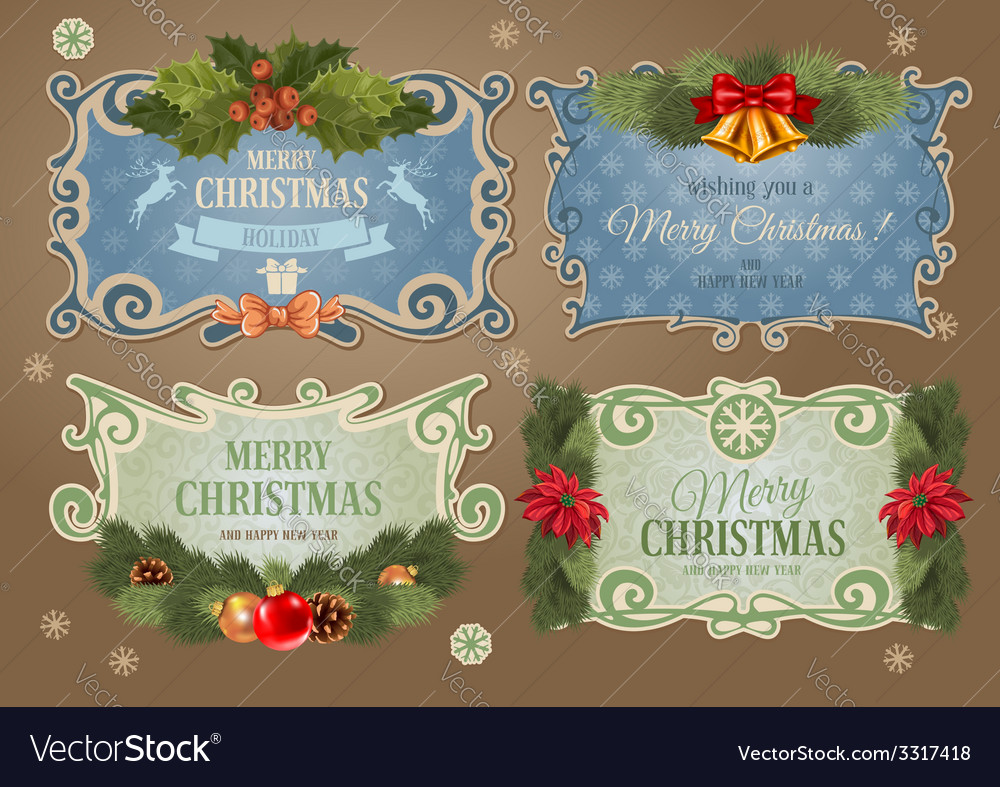 Christmas label set vector | Price: 1 Credit (USD $1)