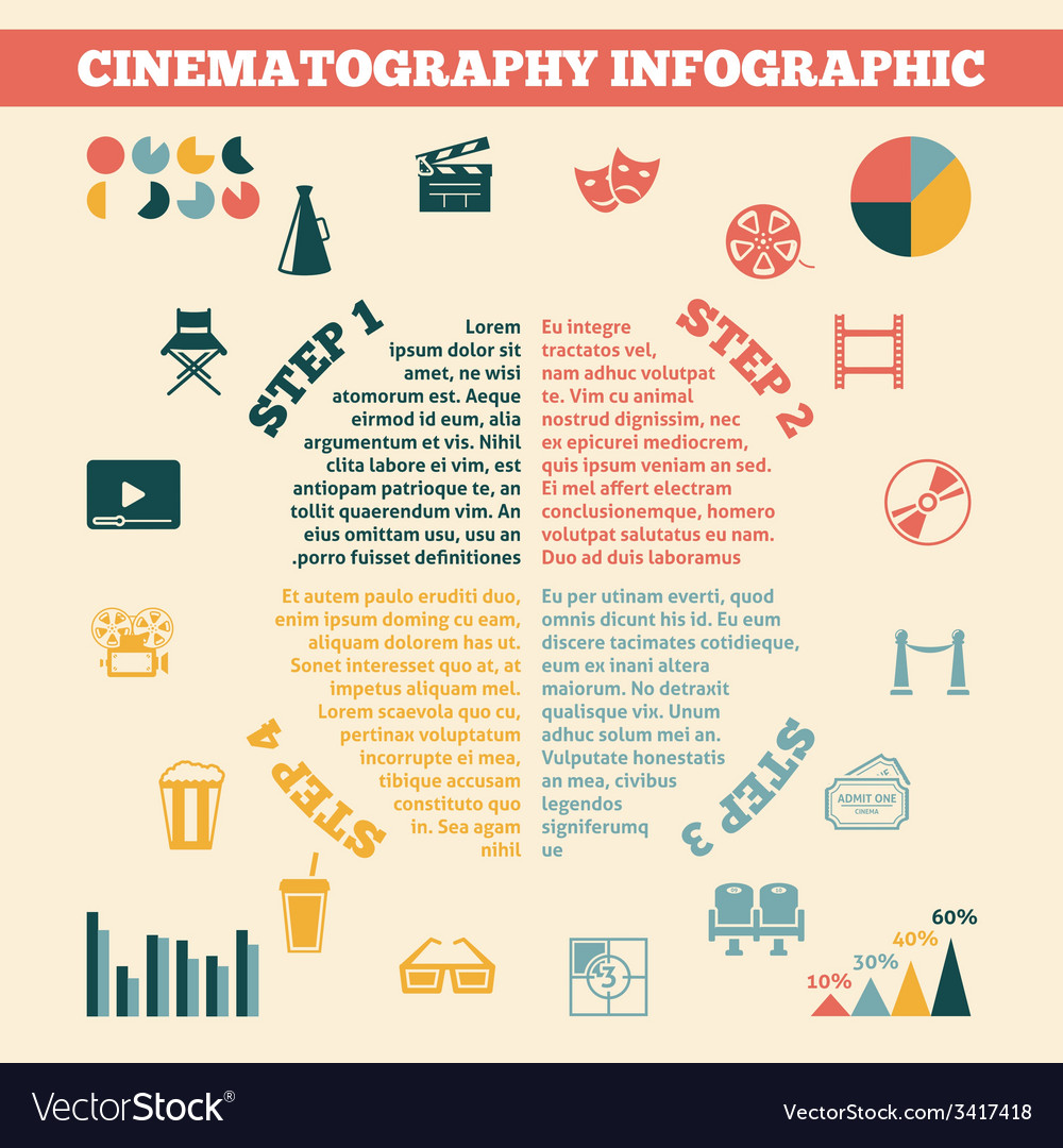 Cinema infographics print poster vector | Price: 1 Credit (USD $1)
