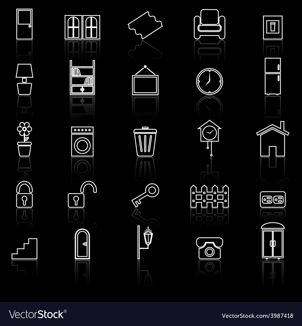 House related line icons with reflect on black vector | Price: 1 Credit (USD $1)