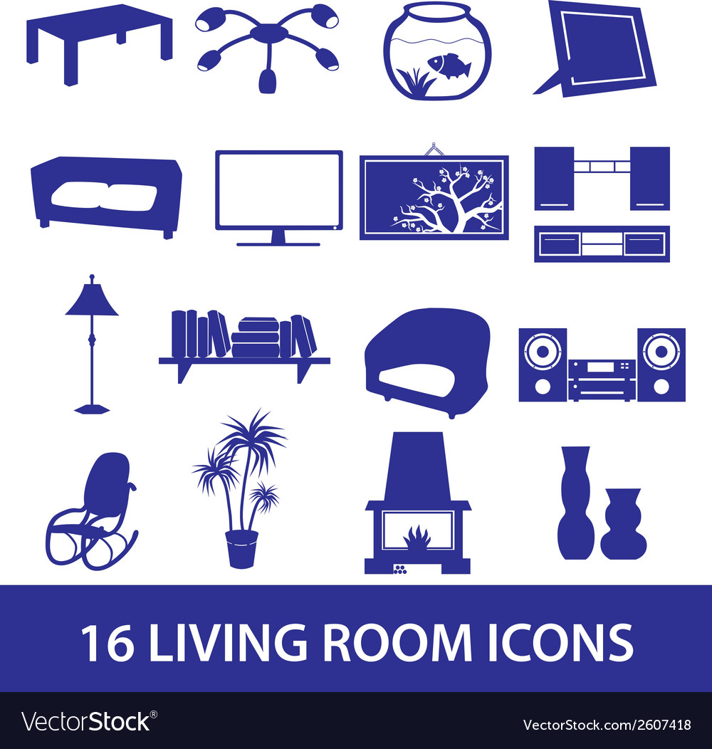 Living room icon set eps10 vector | Price: 1 Credit (USD $1)