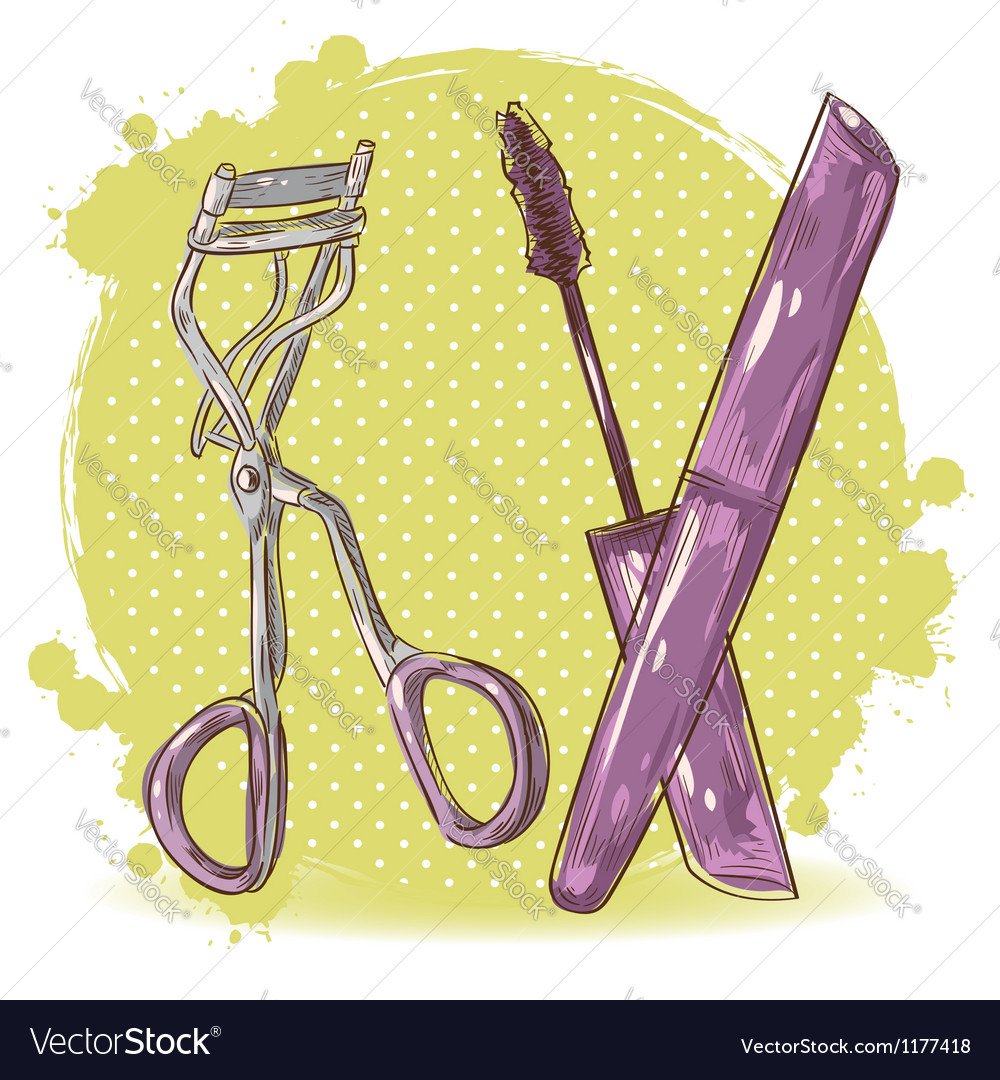 Make-up eyelash curler and mascara isolated card vector | Price: 1 Credit (USD $1)