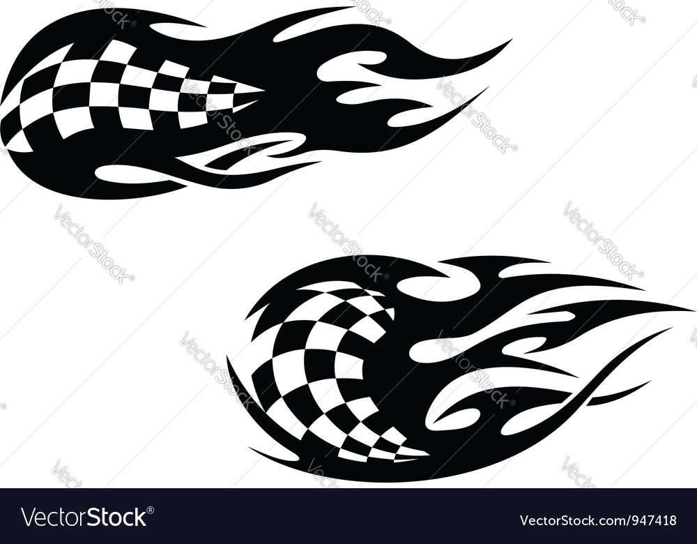 Racing flag with flames vector | Price: 1 Credit (USD $1)