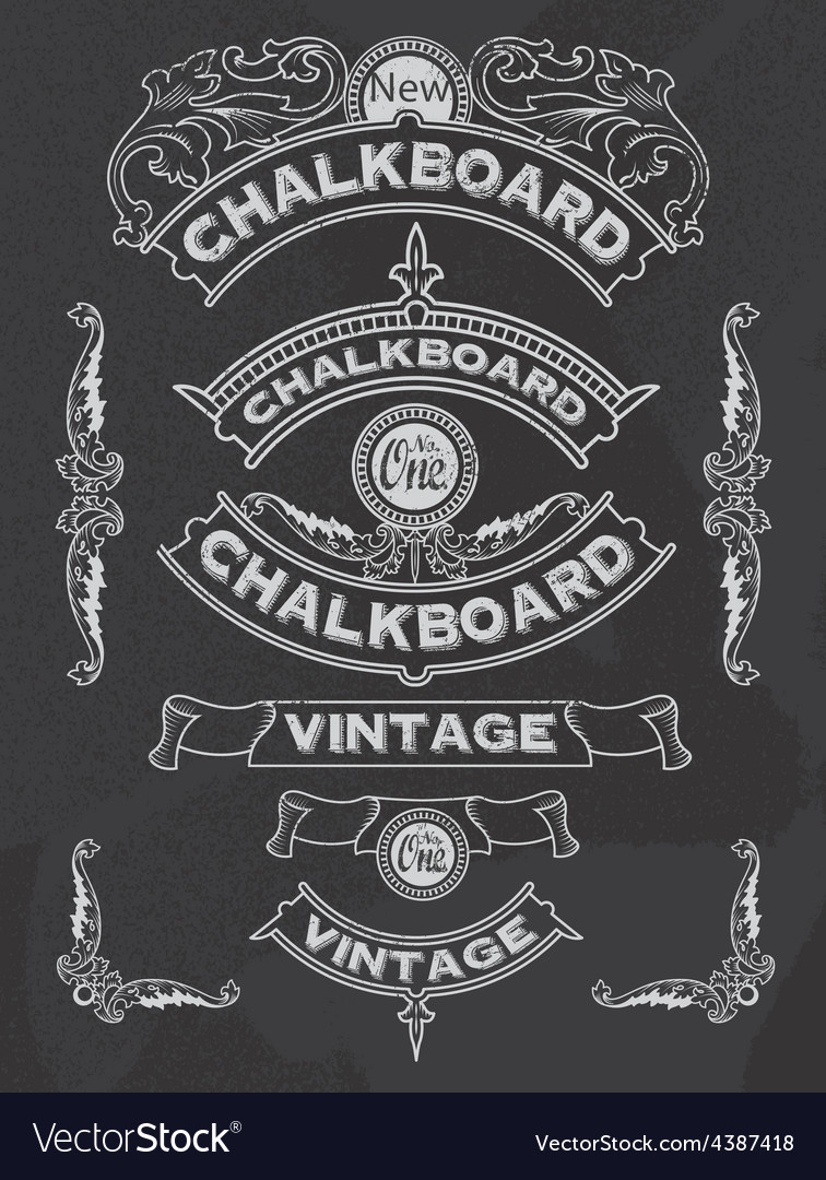 Retro banner and ribbon blackboard design set vector | Price: 1 Credit (USD $1)