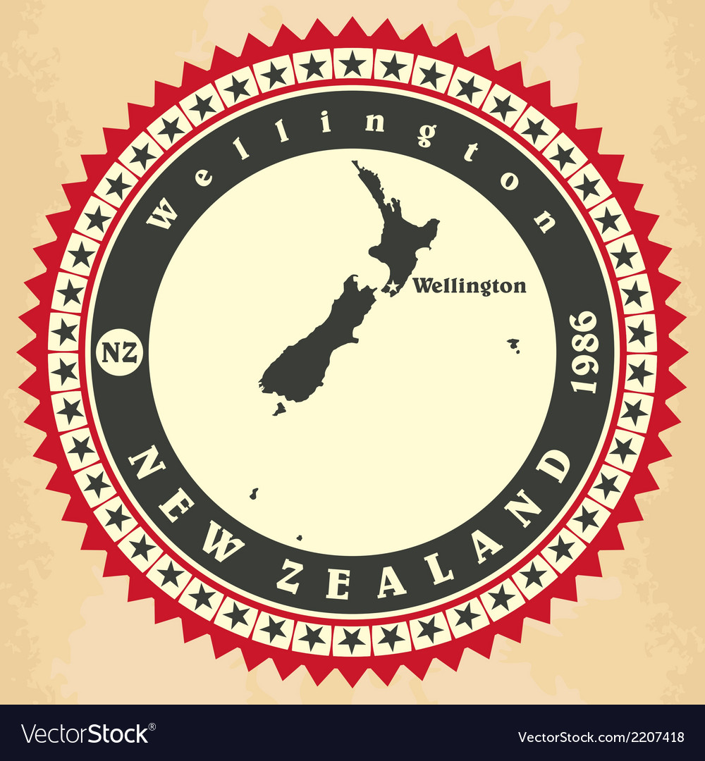 Vintage label-sticker cards of new zealand vector | Price: 1 Credit (USD $1)
