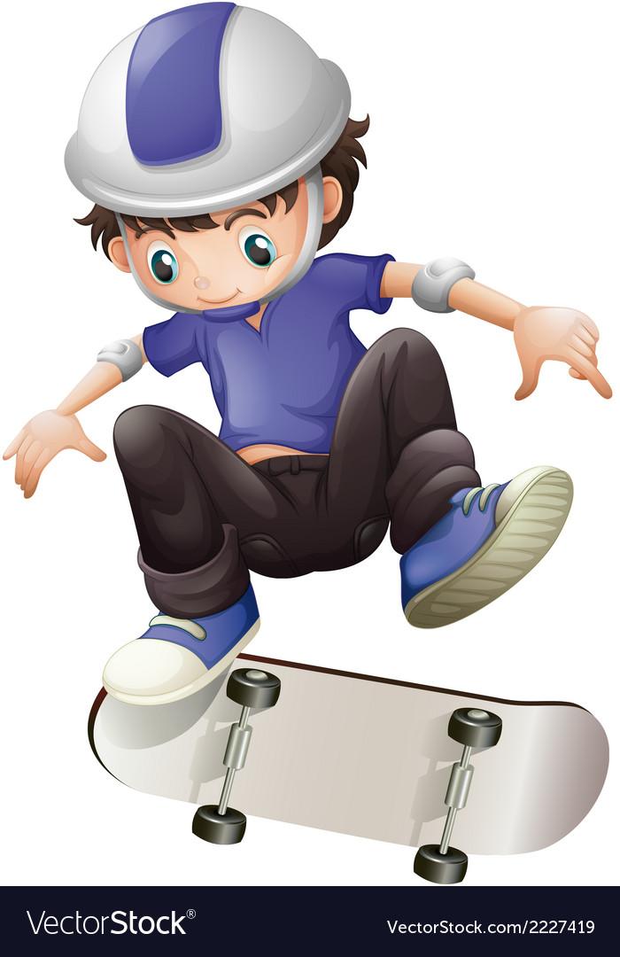 A young boy skating vector | Price: 1 Credit (USD $1)