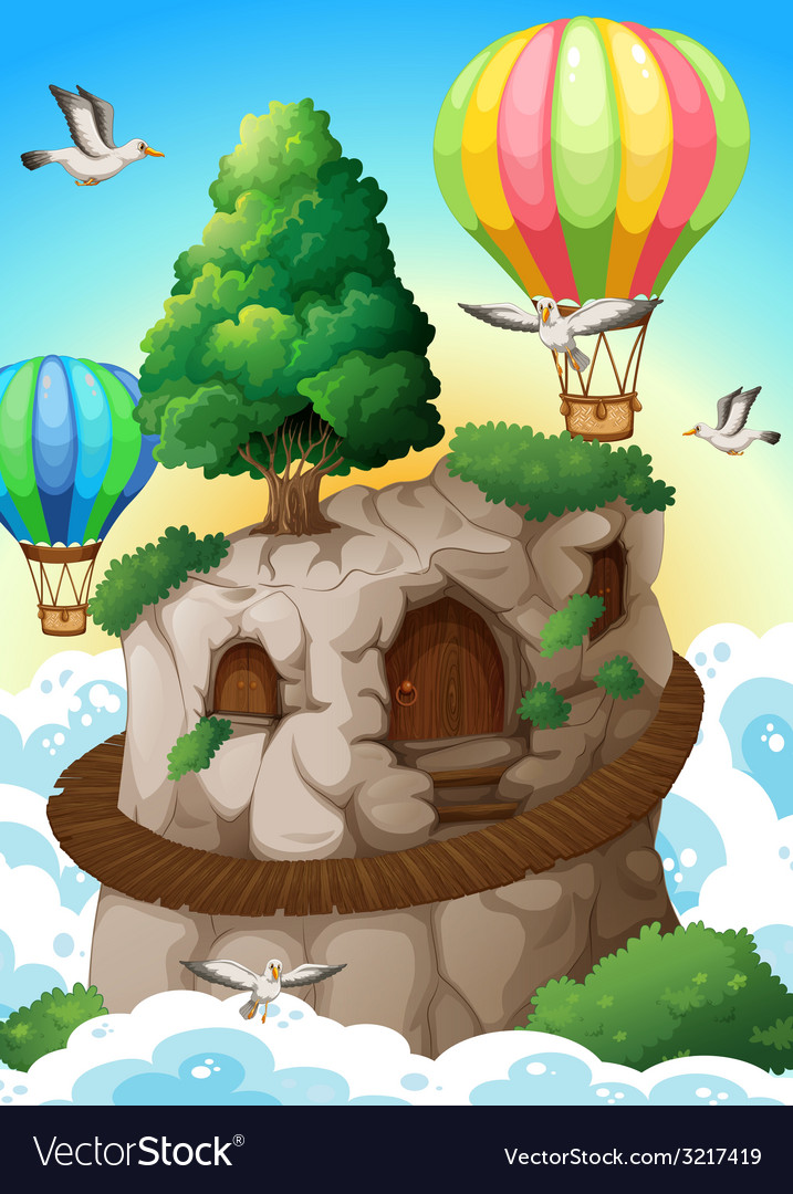 Cave and balloons vector | Price: 3 Credit (USD $3)