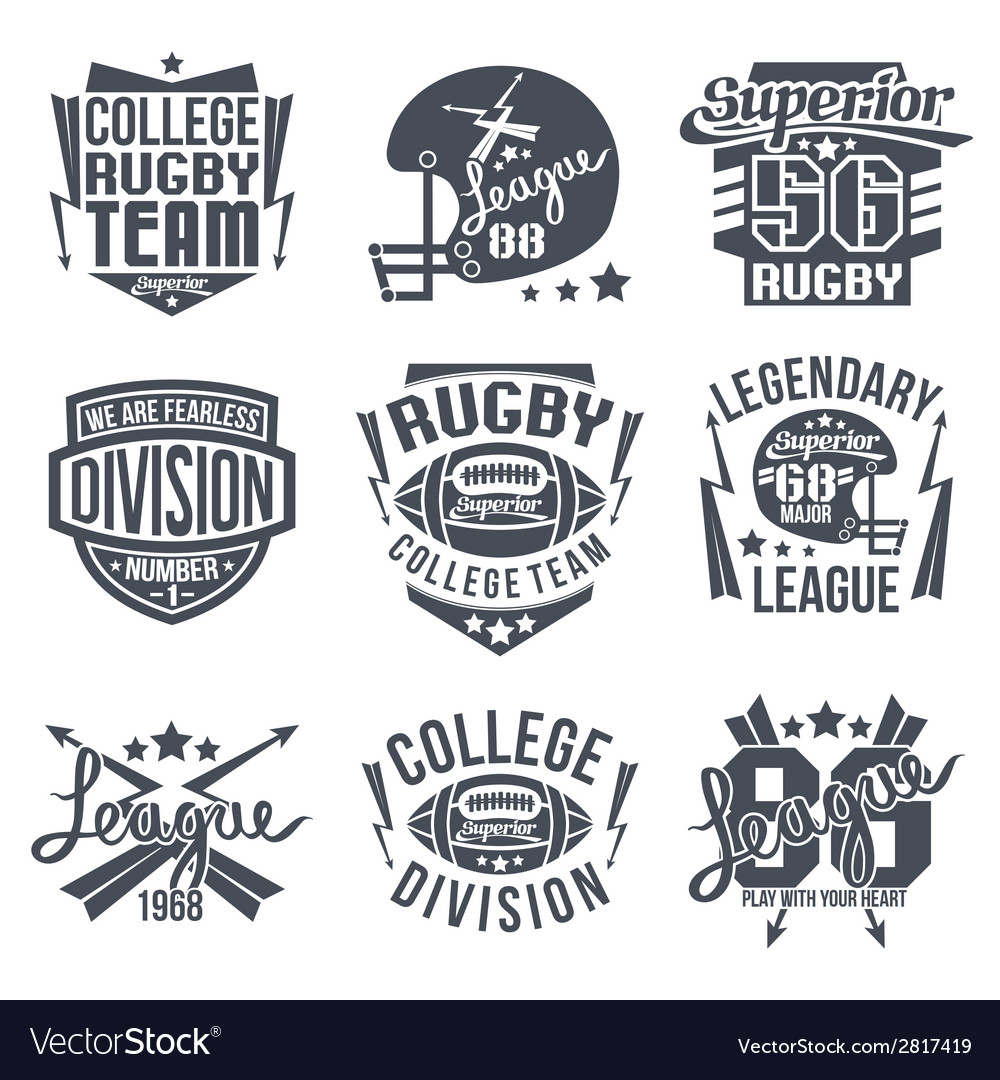 College rugby team emblem vector | Price: 1 Credit (USD $1)