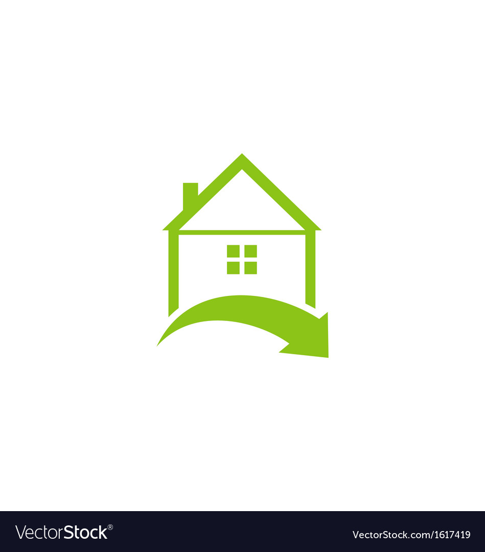 Icon eco home with leaf logo style vector | Price: 1 Credit (USD $1)