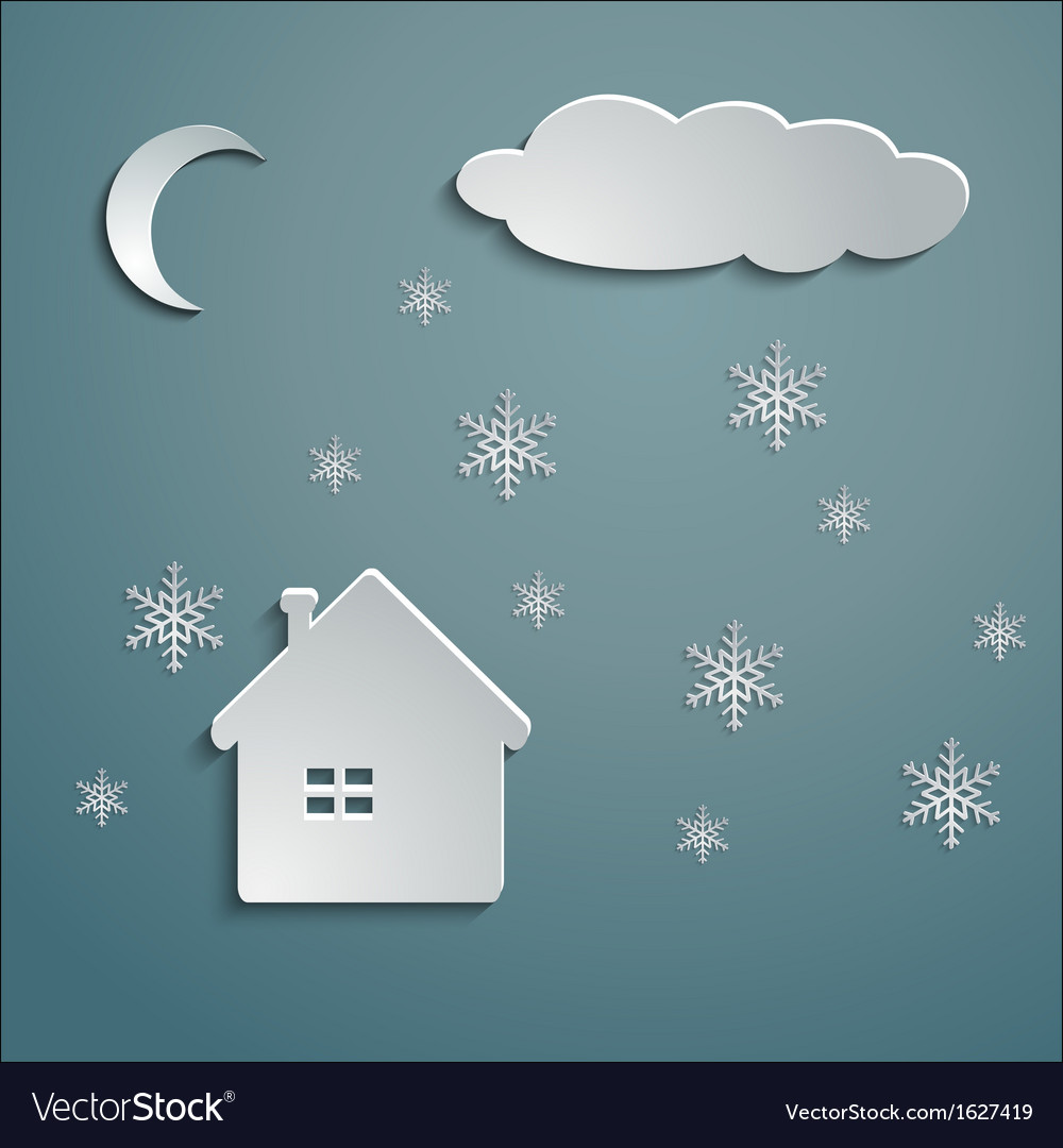 Paper house winter vector | Price: 1 Credit (USD $1)