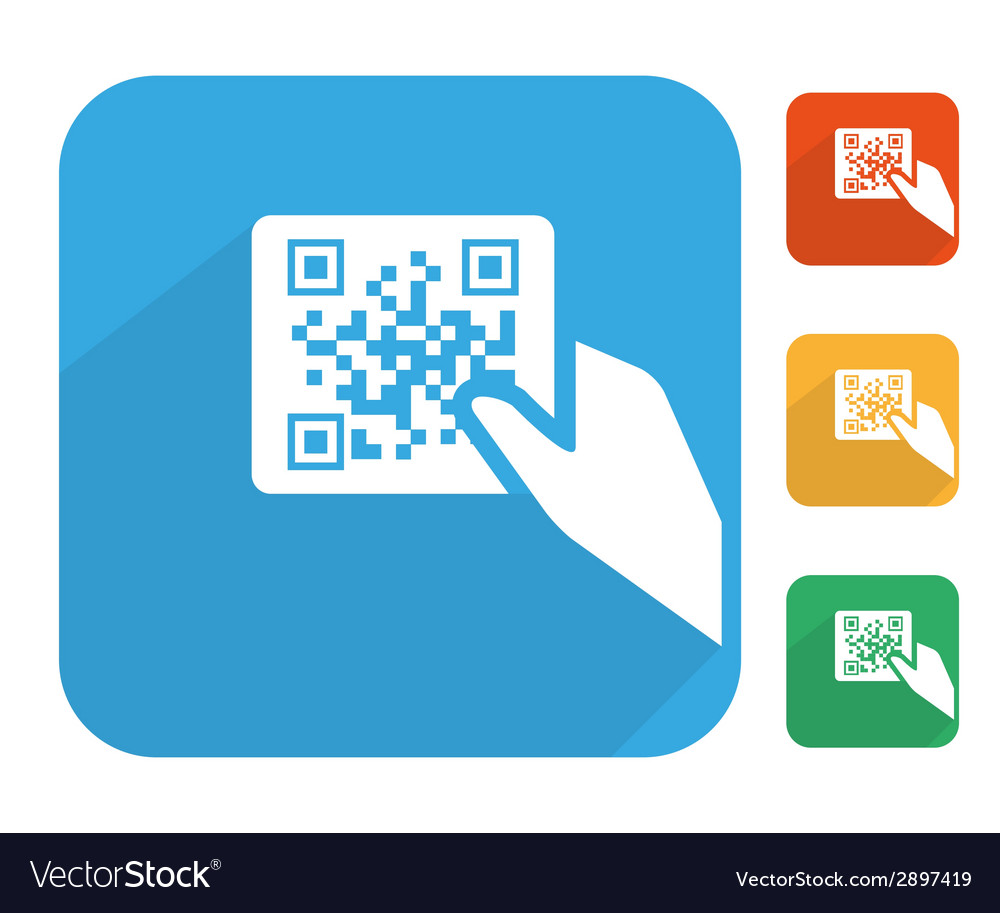Qr code label with human hand icon set vector | Price: 1 Credit (USD $1)
