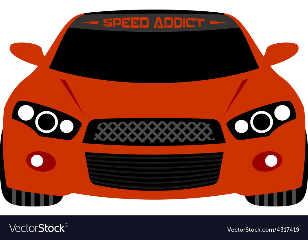 Red sport car front view vector | Price: 1 Credit (USD $1)