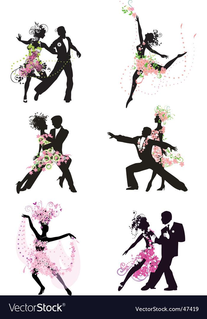Silhouette dancing people vector | Price: 1 Credit (USD $1)
