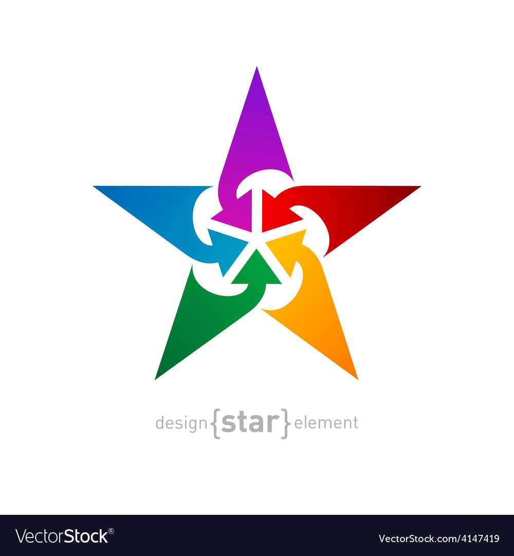 Star with arrows abstract design element on white vector | Price: 1 Credit (USD $1)