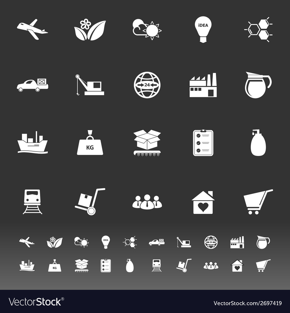 Supply chain and logistic icons on gray background vector | Price: 1 Credit (USD $1)