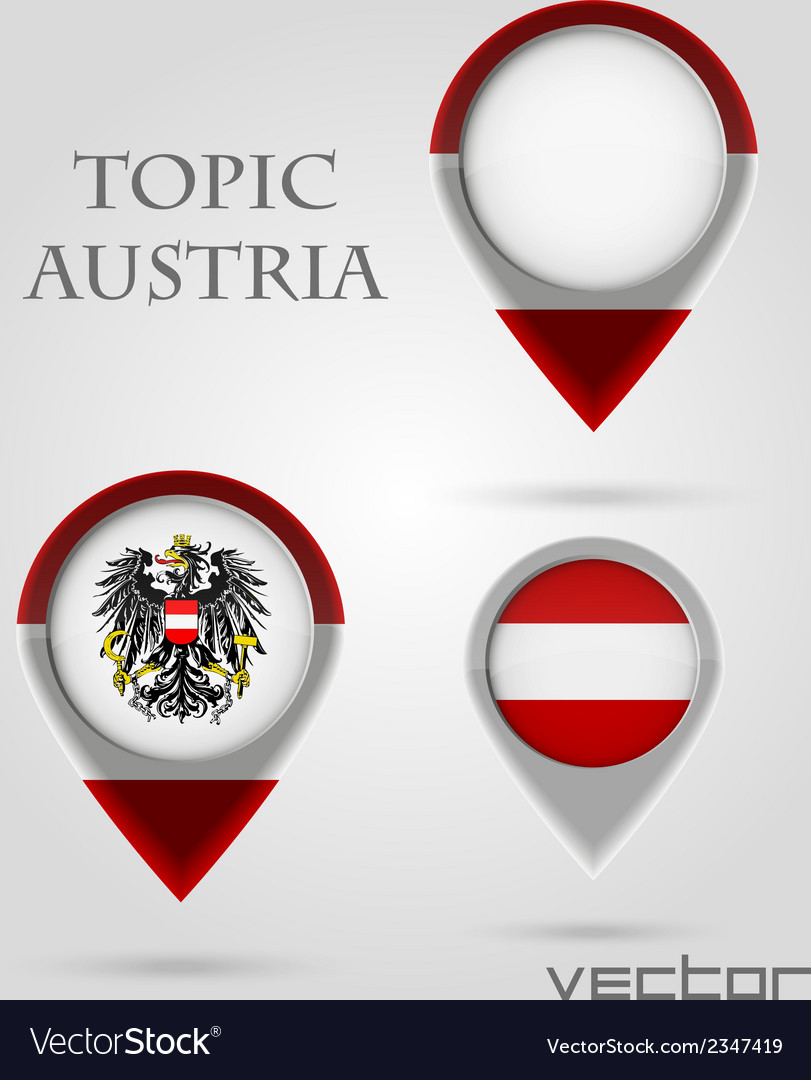 Topic austria map marker vector | Price: 1 Credit (USD $1)