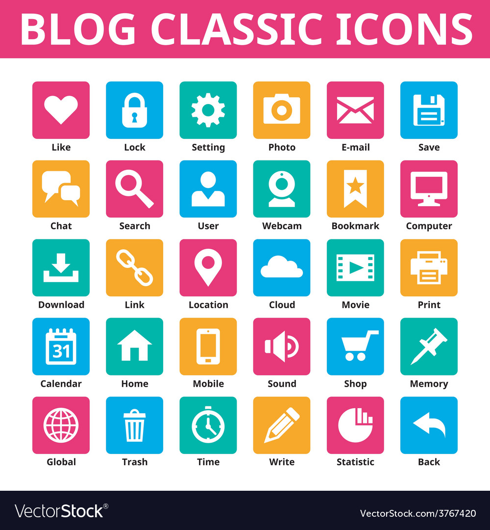 Blog classic icons set vector | Price: 1 Credit (USD $1)