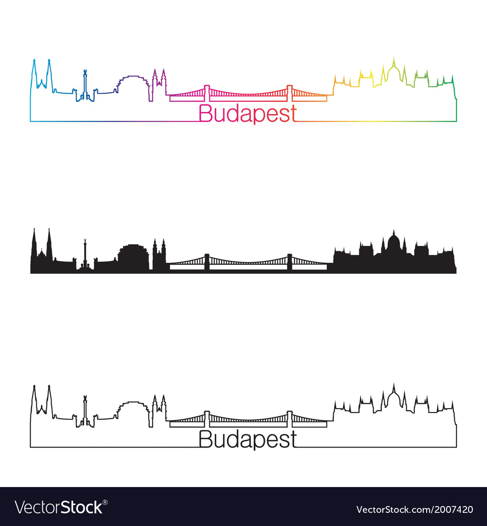 Budapest skyline linear style with rainbow vector | Price: 1 Credit (USD $1)