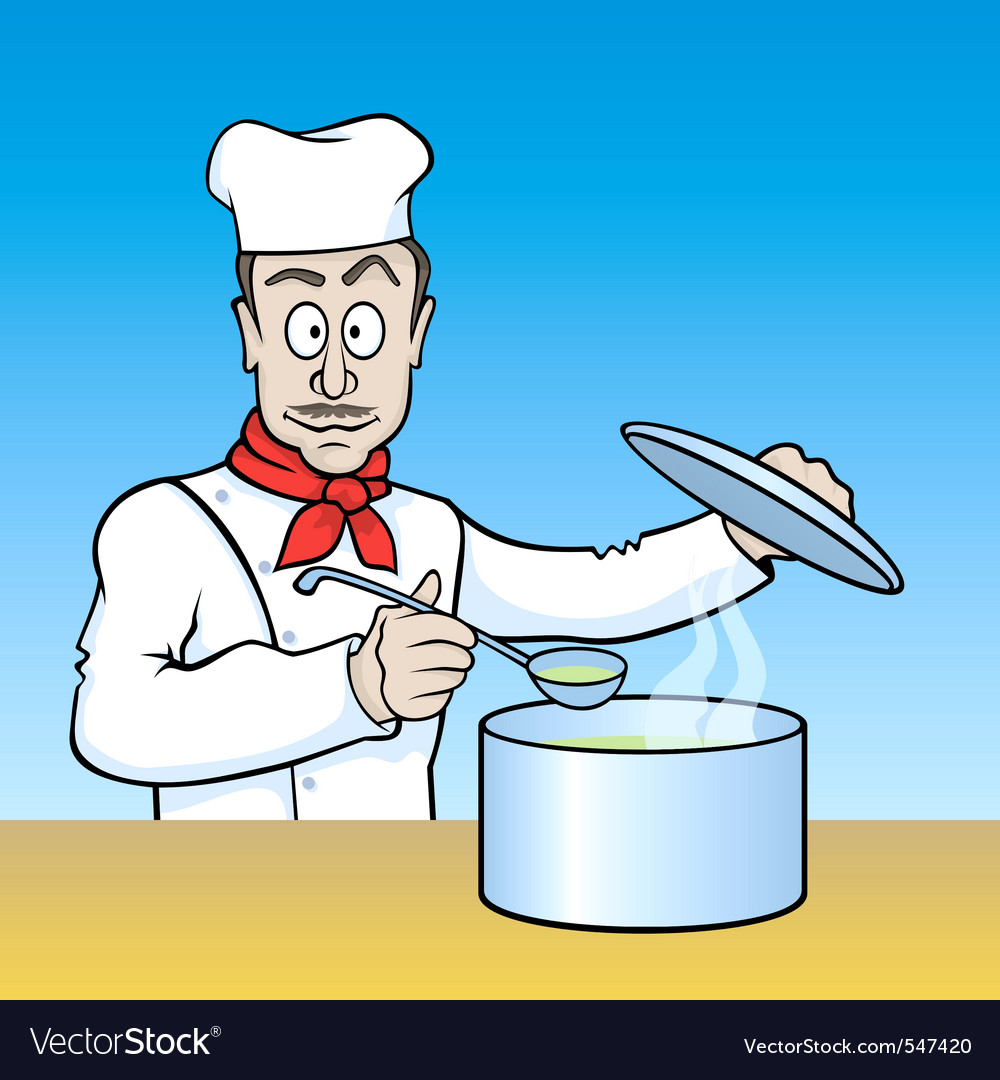 Chef testing soup vector | Price: 1 Credit (USD $1)