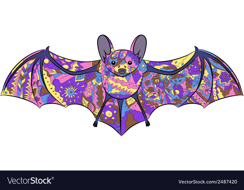 Colorful bat vector | Price: 1 Credit (USD $1)