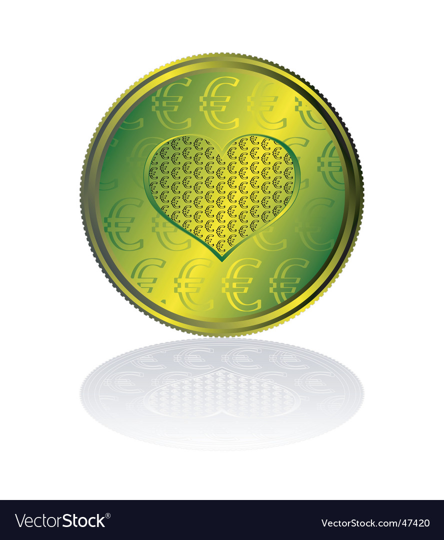 Concentration of euro in heart vector | Price: 1 Credit (USD $1)