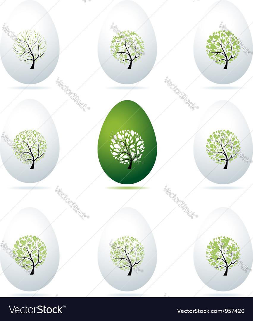 Easter eggs design art trees vector | Price: 1 Credit (USD $1)