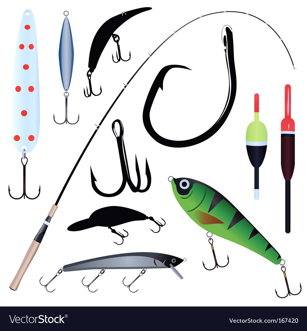 Fishing rod hook vector | Price: 1 Credit (USD $1)