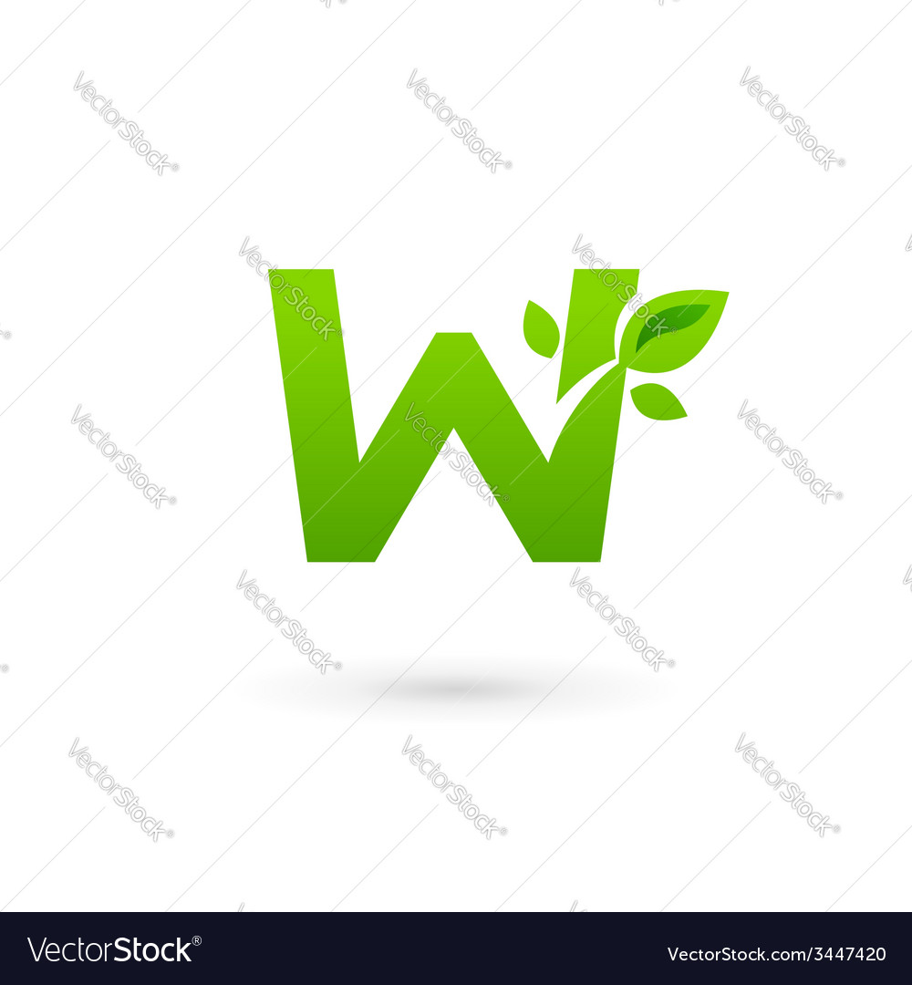 Letter w eco leaves logo icon design template vector | Price: 1 Credit (USD $1)