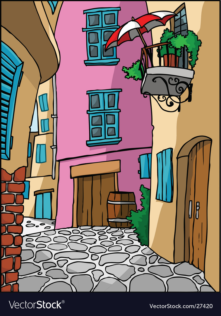 Mediterranean town alley vector | Price: 1 Credit (USD $1)