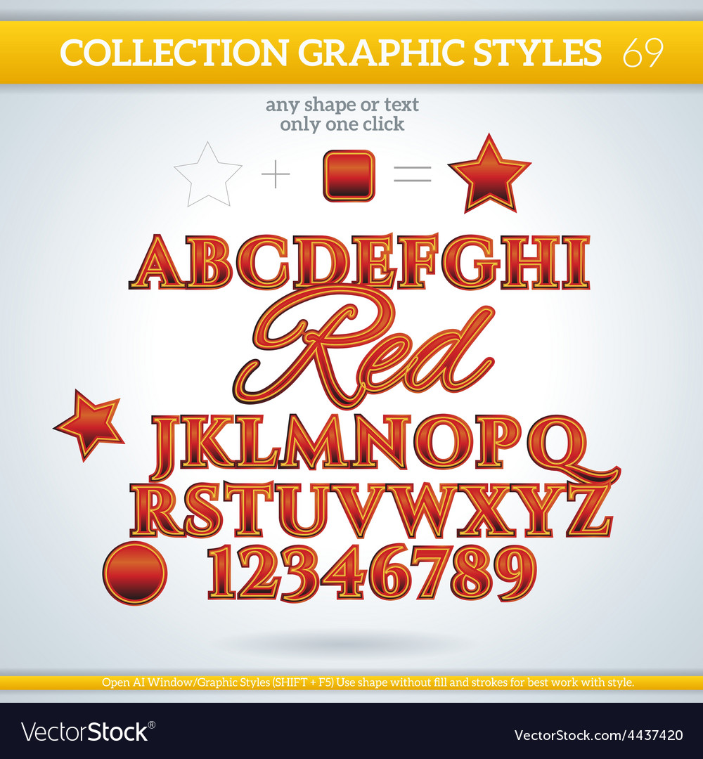 Red graphic styles for design use for decor text vector | Price: 1 Credit (USD $1)