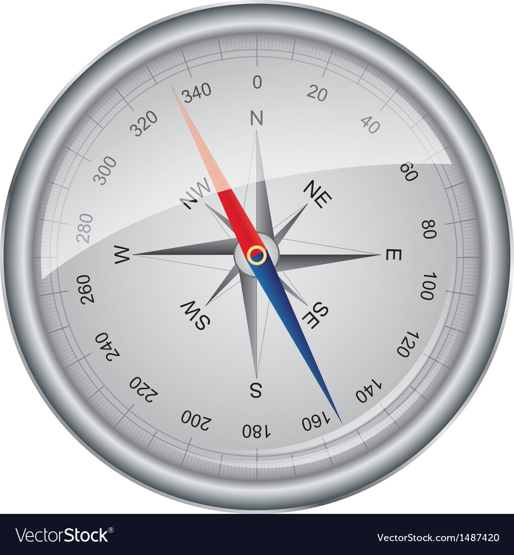 Silver compass vector | Price: 1 Credit (USD $1)