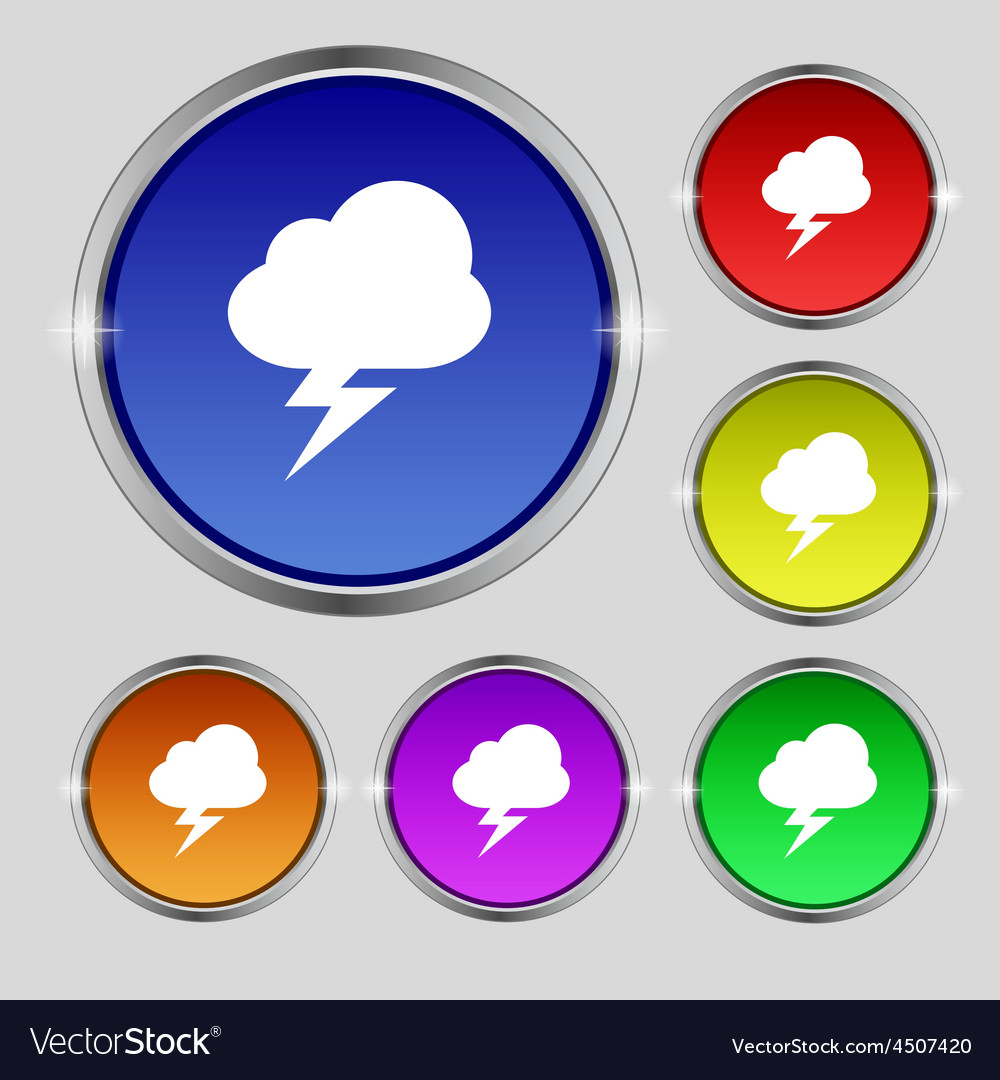 Storm icon sign round symbol on bright colourful vector   Price: 1 Credit (USD $1)