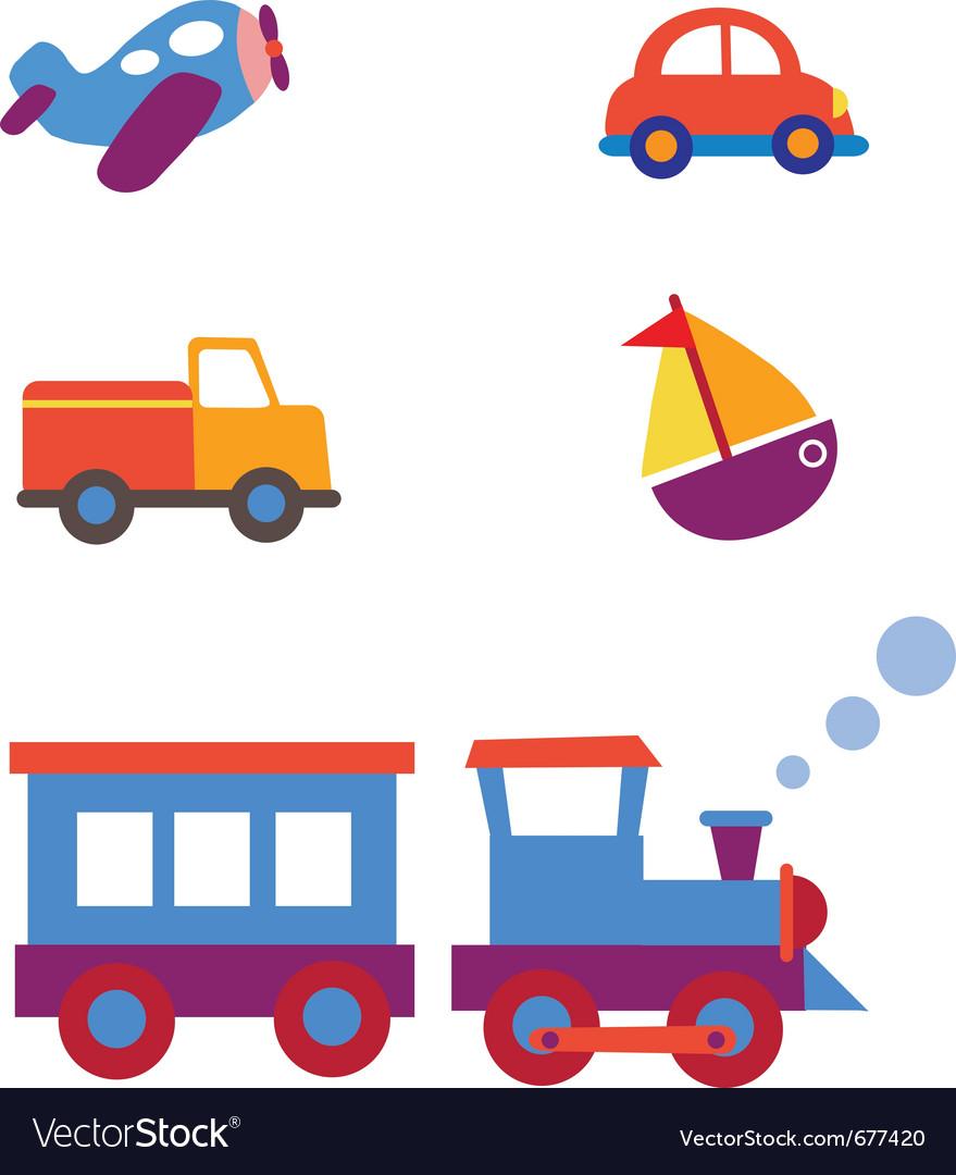 Toy transportation set vector | Price: 1 Credit (USD $1)