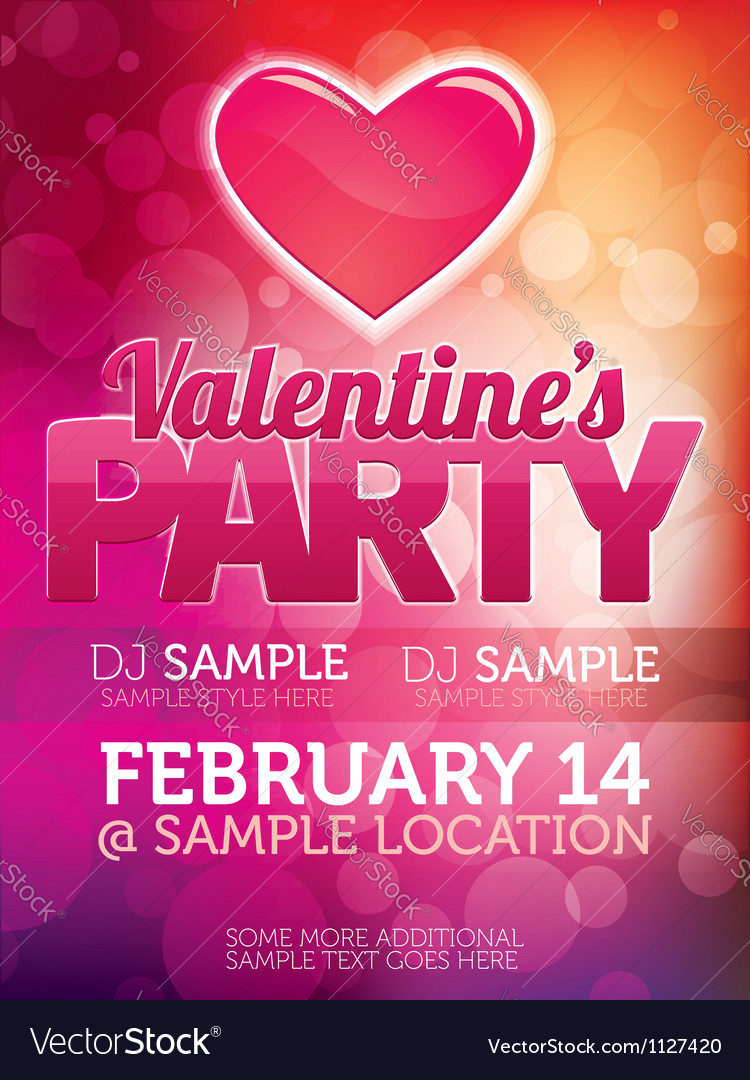 Valentines day party poster vector | Price: 1 Credit (USD $1)