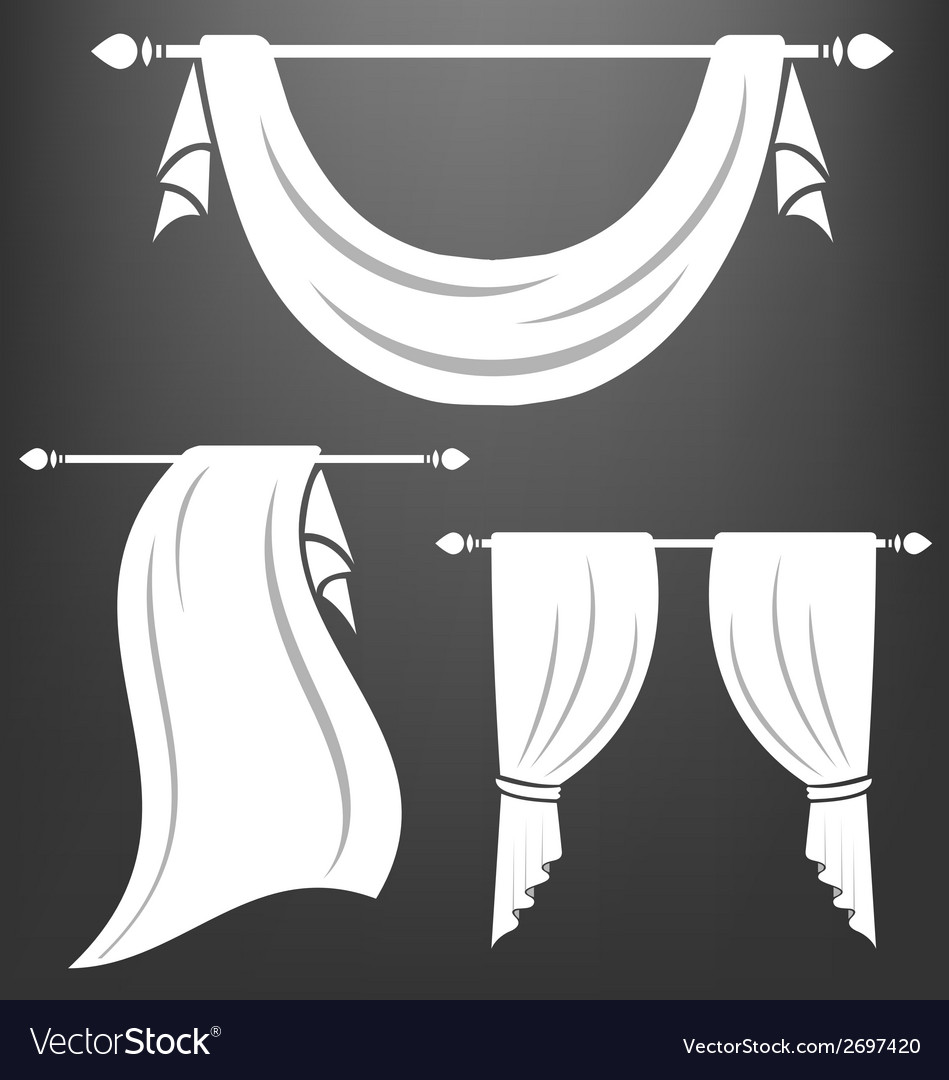 White curtain vintage set vector | Price: 1 Credit (USD $1)