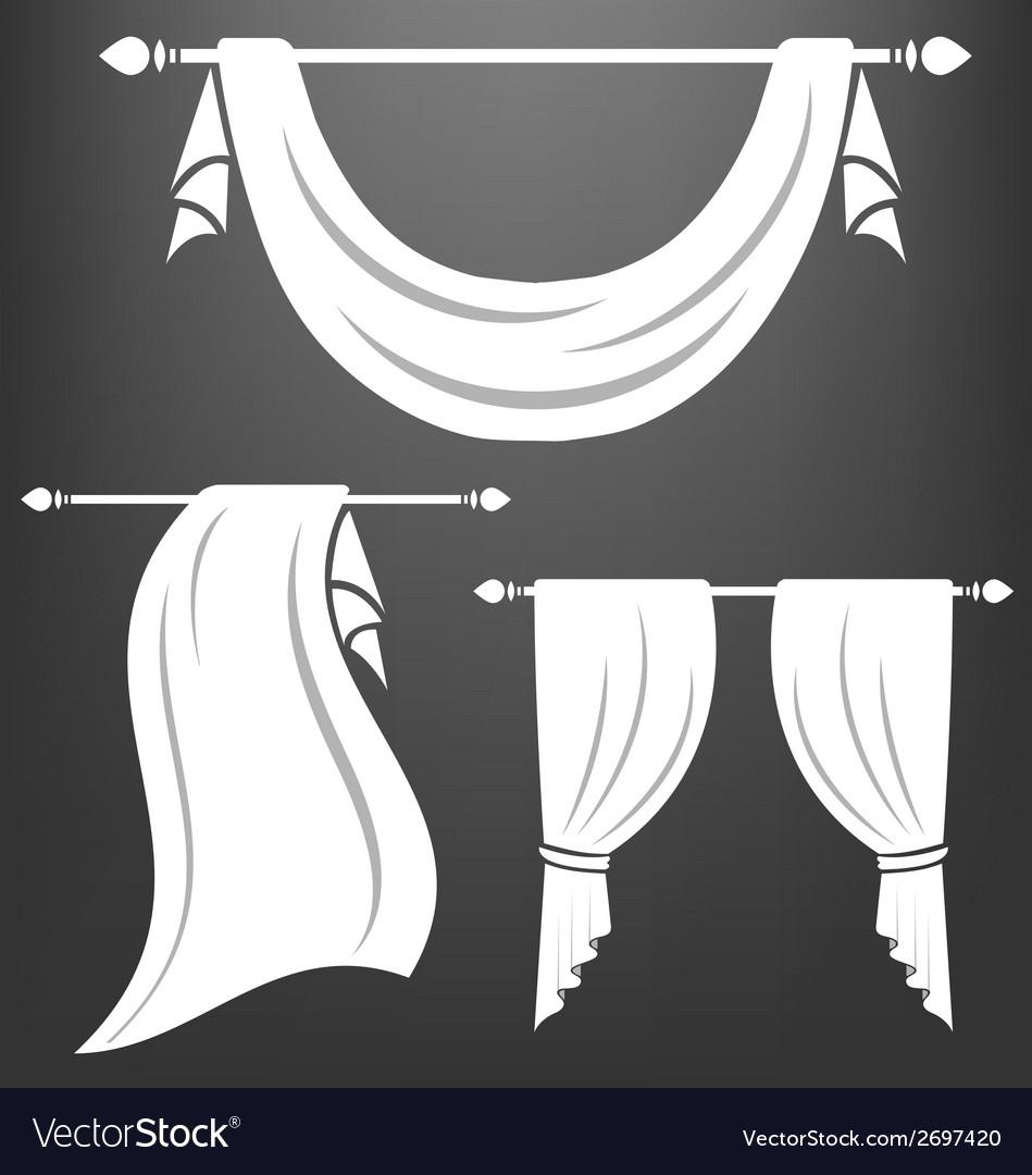 White curtain vintage set vector | Price: 1 Credit (USD $1)
