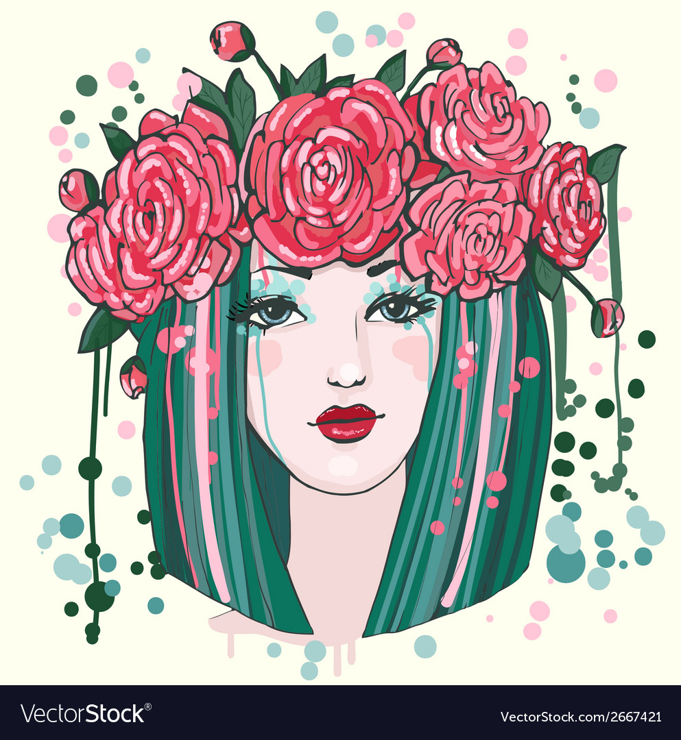 Beautiful women with flowers vector | Price: 1 Credit (USD $1)