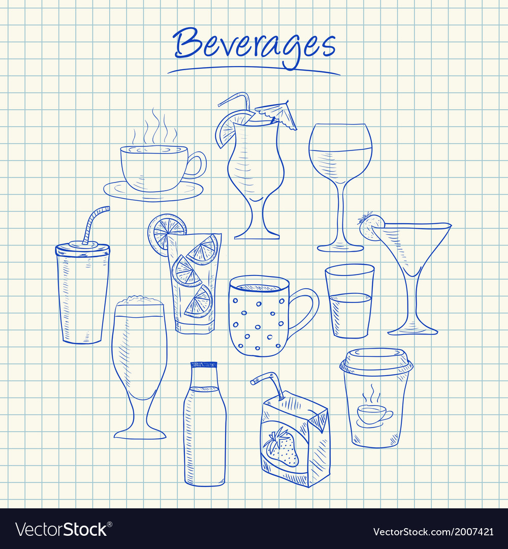 Beverages doodles squared paper vector | Price: 1 Credit (USD $1)