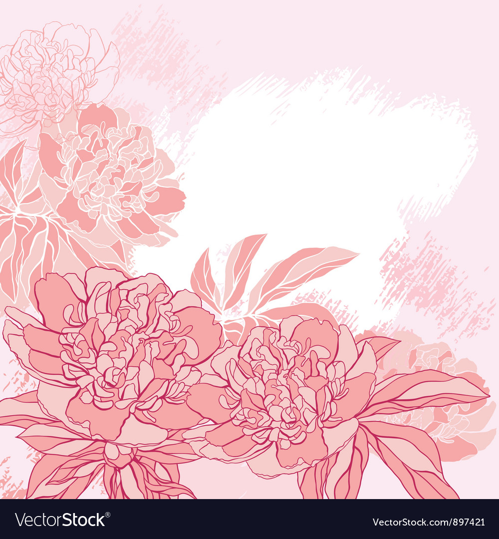 Card with peony on grunge background vector | Price: 1 Credit (USD $1)