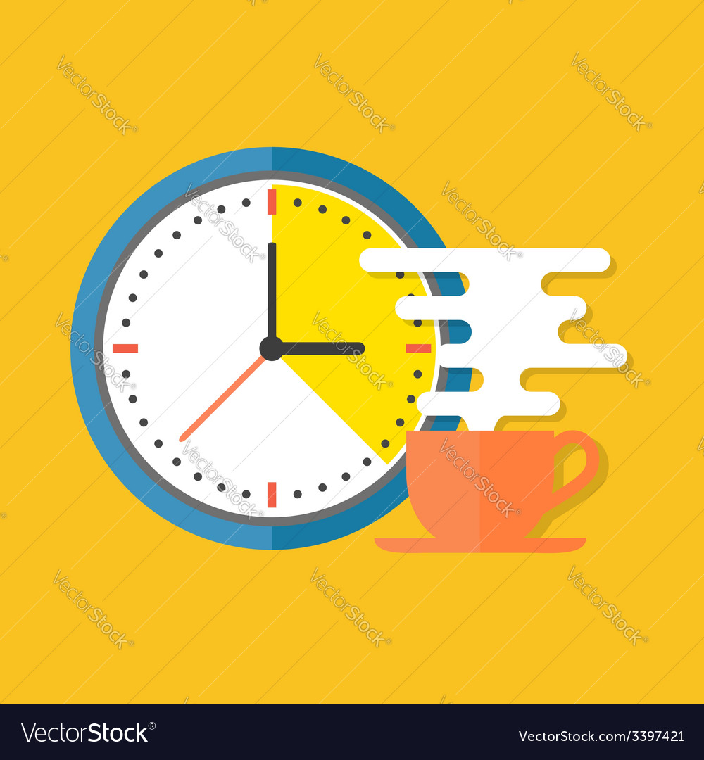Coffee time concept flat design stylish isolated vector | Price: 1 Credit (USD $1)