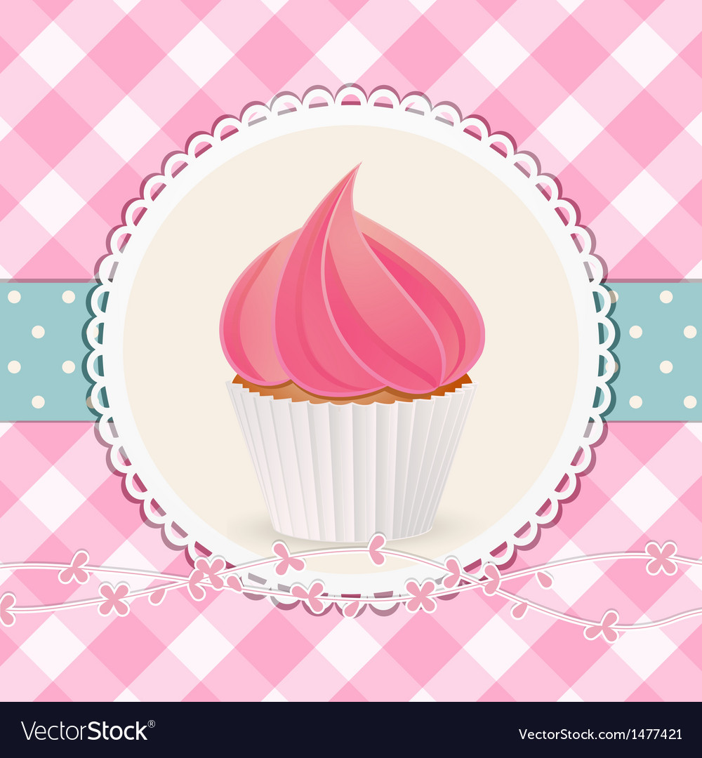 Cupcake with pink icing on pink gingham background vector | Price: 1 Credit (USD $1)