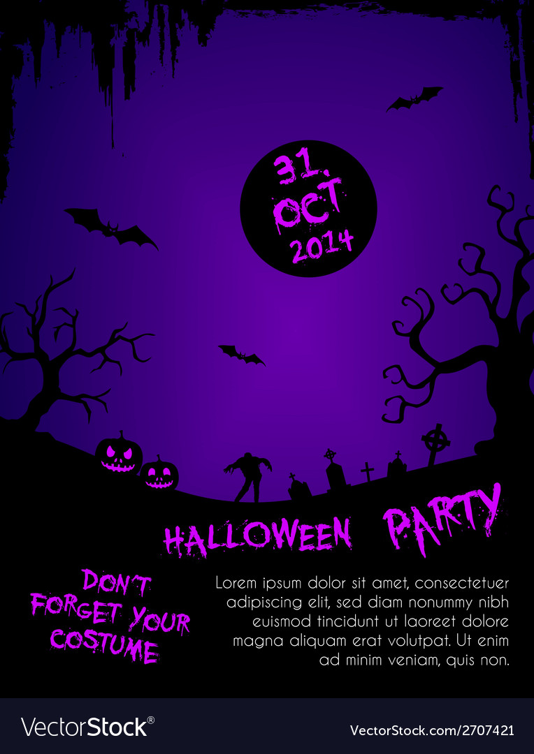 Halloween party flyer template - purple and black vector | Price: 1 Credit (USD $1)