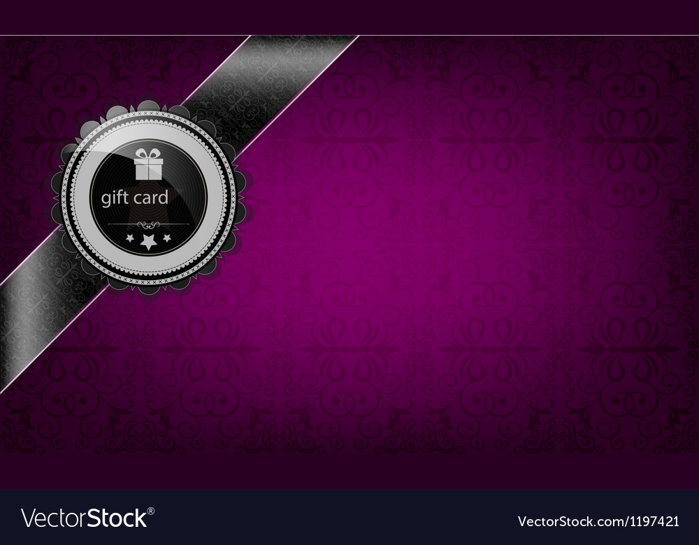 Purple gift card and black ribbon vector | Price: 1 Credit (USD $1)