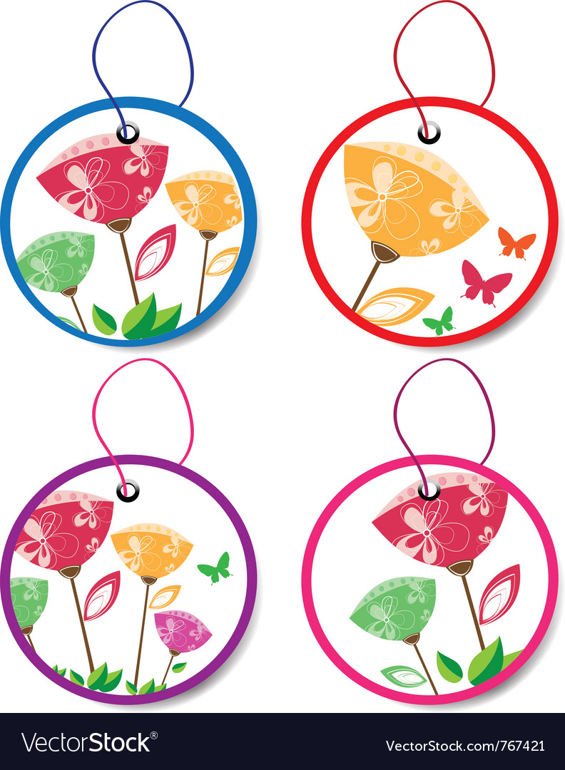 Summer floral badges vector | Price: 1 Credit (USD $1)