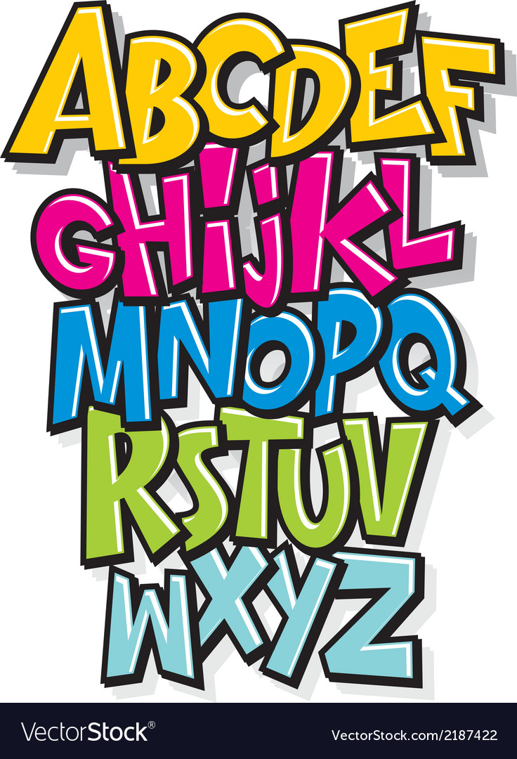 Cartoon comic doodle font alphabet vector | Price: 1 Credit (USD $1)
