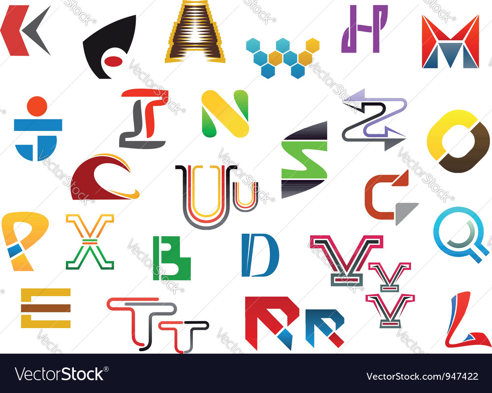 Colorful letter symbols and icons vector | Price: 1 Credit (USD $1)